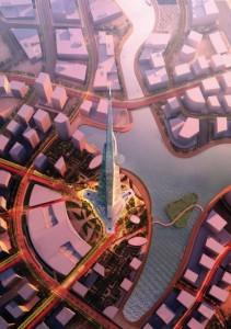 Kingdom Tower, focus of Kingdom City, Jeddah