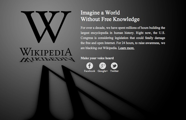 Websites Blackout in Protest of SOPA, PIPA