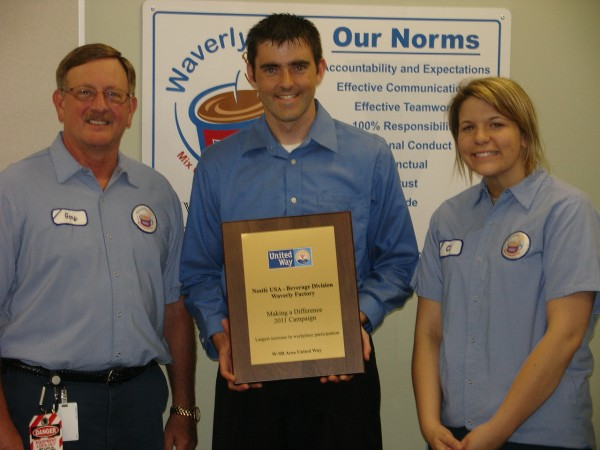 "Nestle Beverage - Waverly Factory. ""Making a Difference Award"""