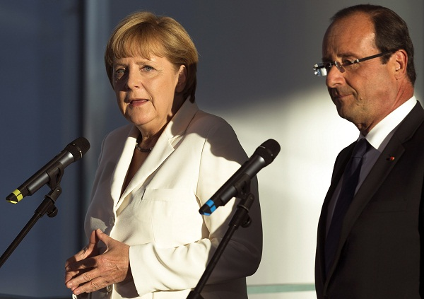 Angela Merkel, German Chancellor with Francois Hollande, President of France