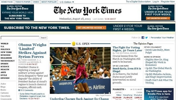 New York Times website crash, believed to be hacked