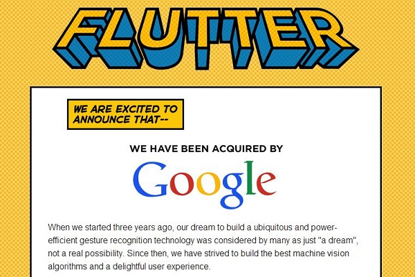 Google Inc. buys gesture recognition firm Flutter, for around $40M