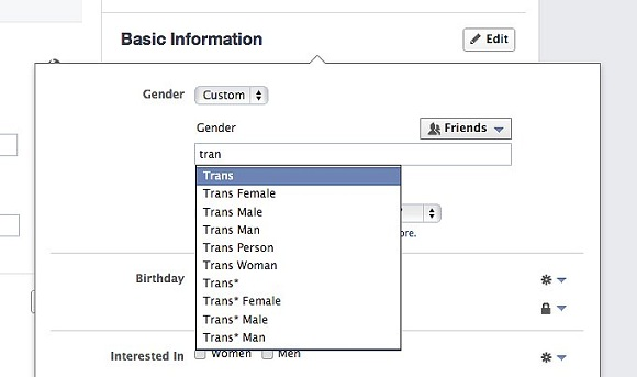 Users can select Custom, an open field to write up to 10 gender descriptions including options like Trans, Agender, Gender queer, and Male to Female, among dozens of others.
