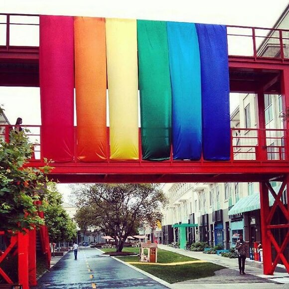 Facebook's rainbow-coloured flags at its California headquarters