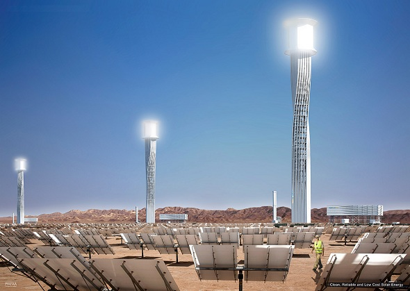 Ivanpah is comprised of 340,000 sun-tracking mirrors (heliostats), which surround three, 459-foot towers  Read more: World's Largest Solar Thermal Energy Plant Opens in California