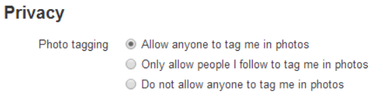 Currently the default option for Twitter users is set to 'allow anyone to tag me in photos'.