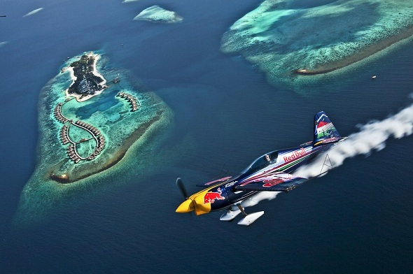 (Image Credit: Red Bull)Peter Besenyei flies over the Kaafu Atoll in the Maldives on December 16th, 2011.