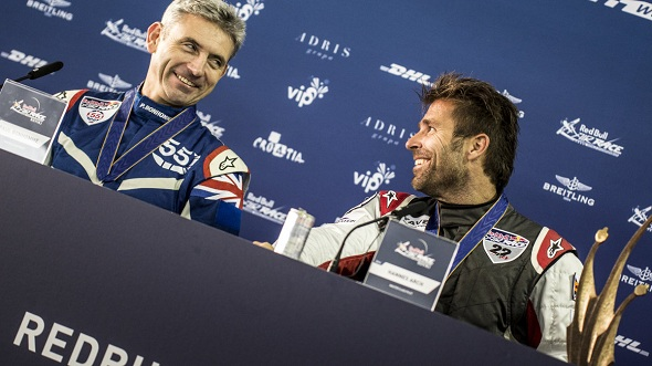 (Image Credit: Red Bull) Paul Bonhomme of Great Britain and Hannes Arch of Austria participate on a press conference for the second stage of the Red Bull Air Race World Championship in Rovinj, Croatia on April 13, 2014.