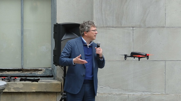 CEO Henri Seydoux at the press event in Thursday demonstrating the company's latest AR Drone 'Bepop - a flying camera'