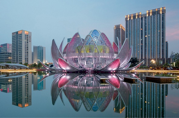 'An Ethereal Lotus Building Standing on Water' by Studio505 Blooms in China