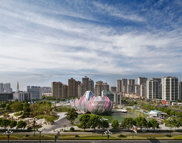 Lotus Building and People's Park in Wujin, China