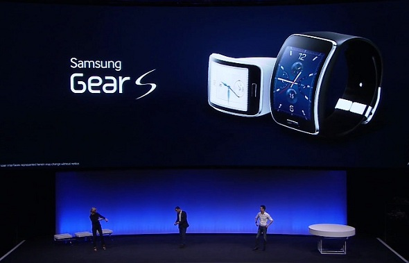 Samsung showcased, Samsung Gear S, a new mobile watch device during the IFA trade show in Berlin on September 3, 2014