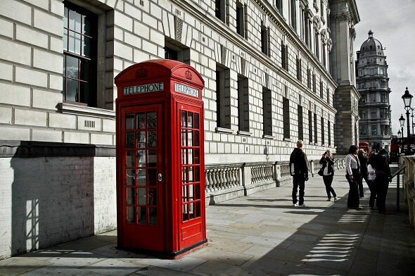 The most photographed phone booth in London sits in front of Big Ben.