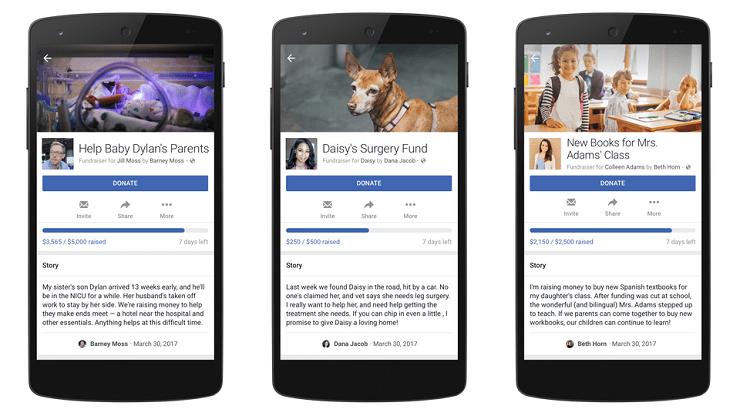 facebook's personal fundraiser feature