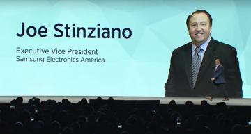 Samsung Press Conference: Executive Vice President of Samsung Electronics America, Joe Stinziano addresses the press conference at CES 2016