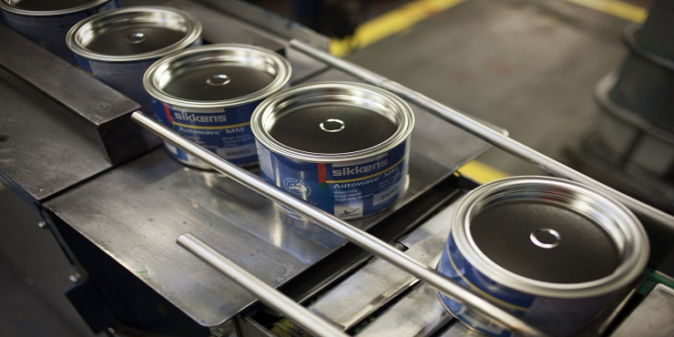 Paint cans at AkzoNobel Sassenheim production facility
